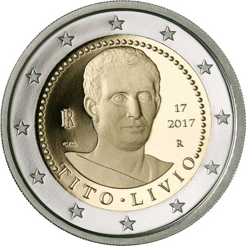 Image of 2 euro coin – Death of Titus Livius 2000 Years | Italy 2017