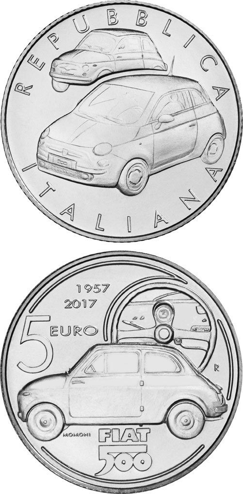 Image of 5 euro coin - 60 Years of Fiat | Italy 2017.  The Silver coin is of BU quality.
