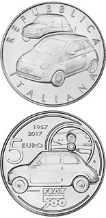 5 euro 60 Years of Fiat - 2017 - Series: Silver 5 euro coins - Italy