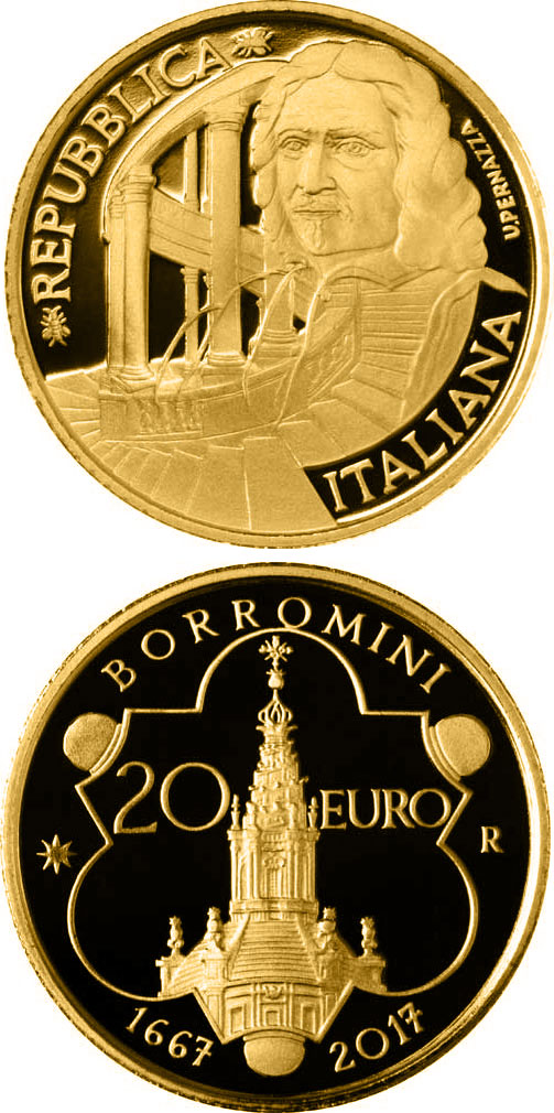 Image of 20 euro coin – 350th Anniversary Of The Purchase Of Francesco Borromini | Italy 2017.  The Gold coin is of Proof quality.