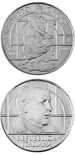 5 euro 150th Anniversary it the Birth of Benedetto Croce - 2017 - Series: Silver 5 euro coins - Italy