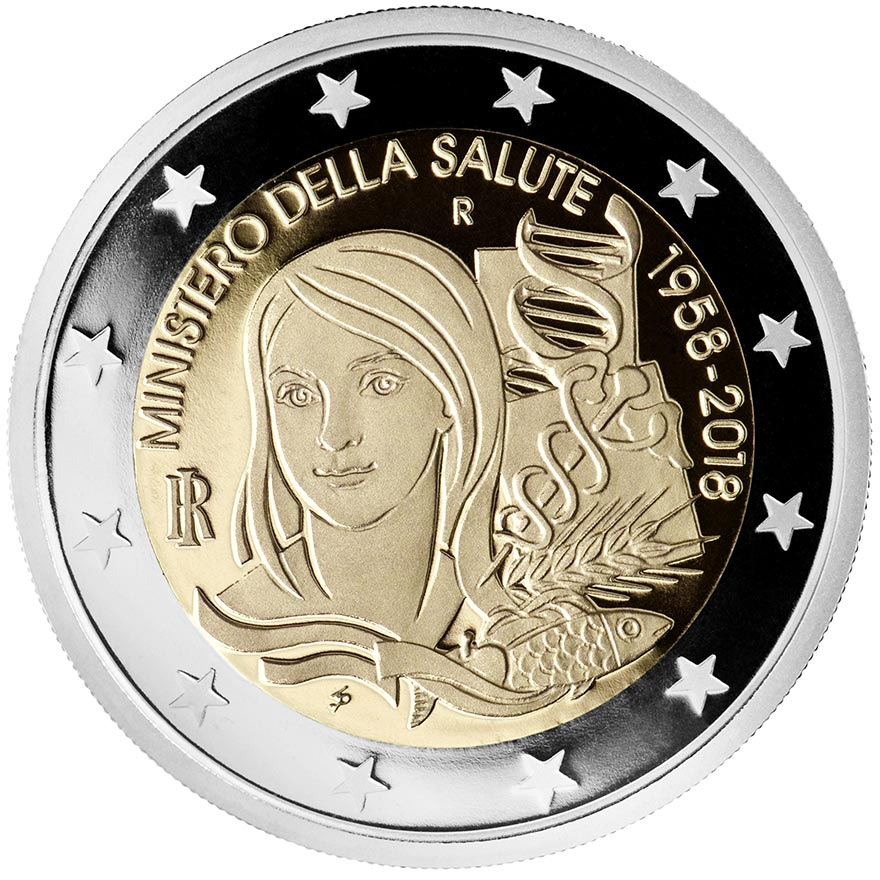 Image of 2 euro coin - 60 Years of the Ministry of Health | Italy 2018