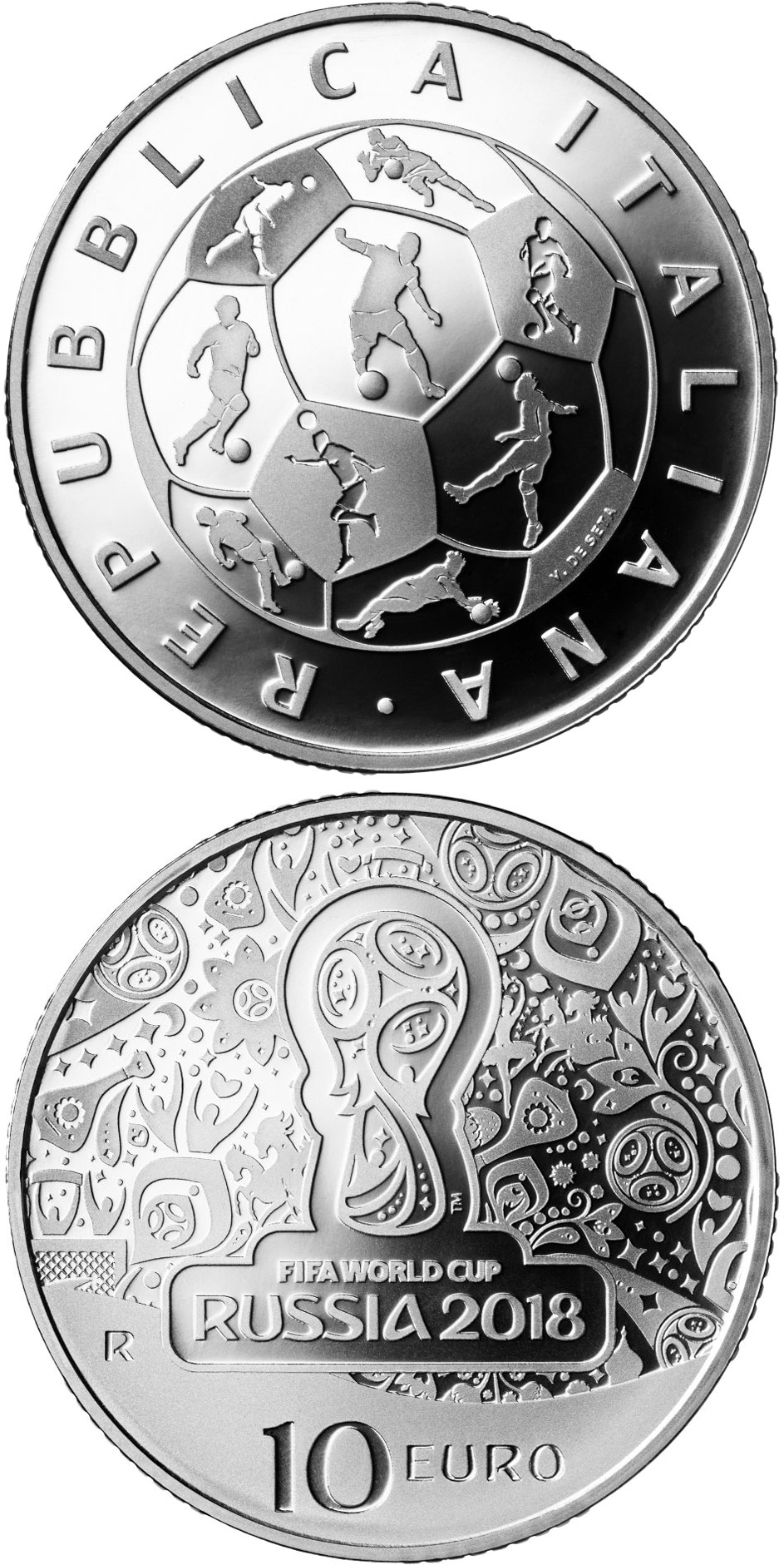 Image of 10 euro coin - FIFA World Cup Russia 2018 | Italy 2018