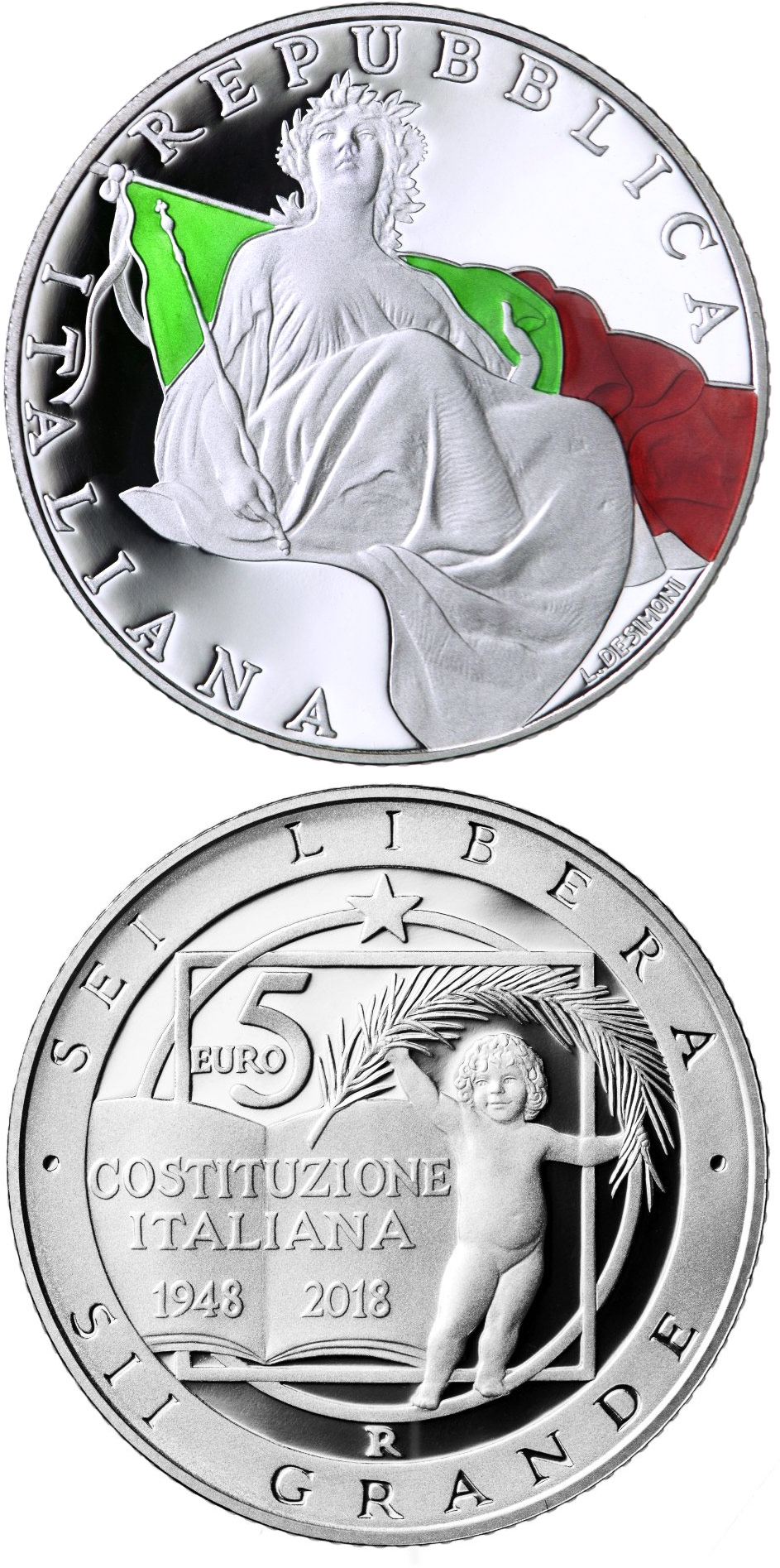 Image of 5 euro coin - 70 Years of Constitution of the Italian Republic | Italy 2018