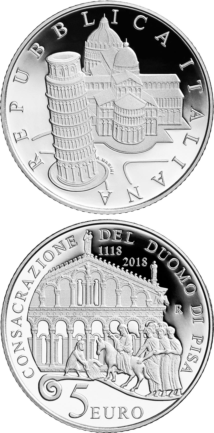 Image of 5 euro coin - 900th Anniversary of the consecration | Italy 2018