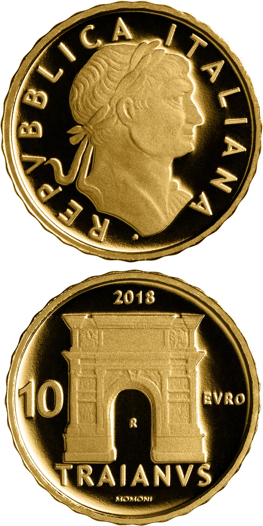 Image of 10 euro coin – Trajan | Italy 2018.  The Gold coin is of Proof quality.