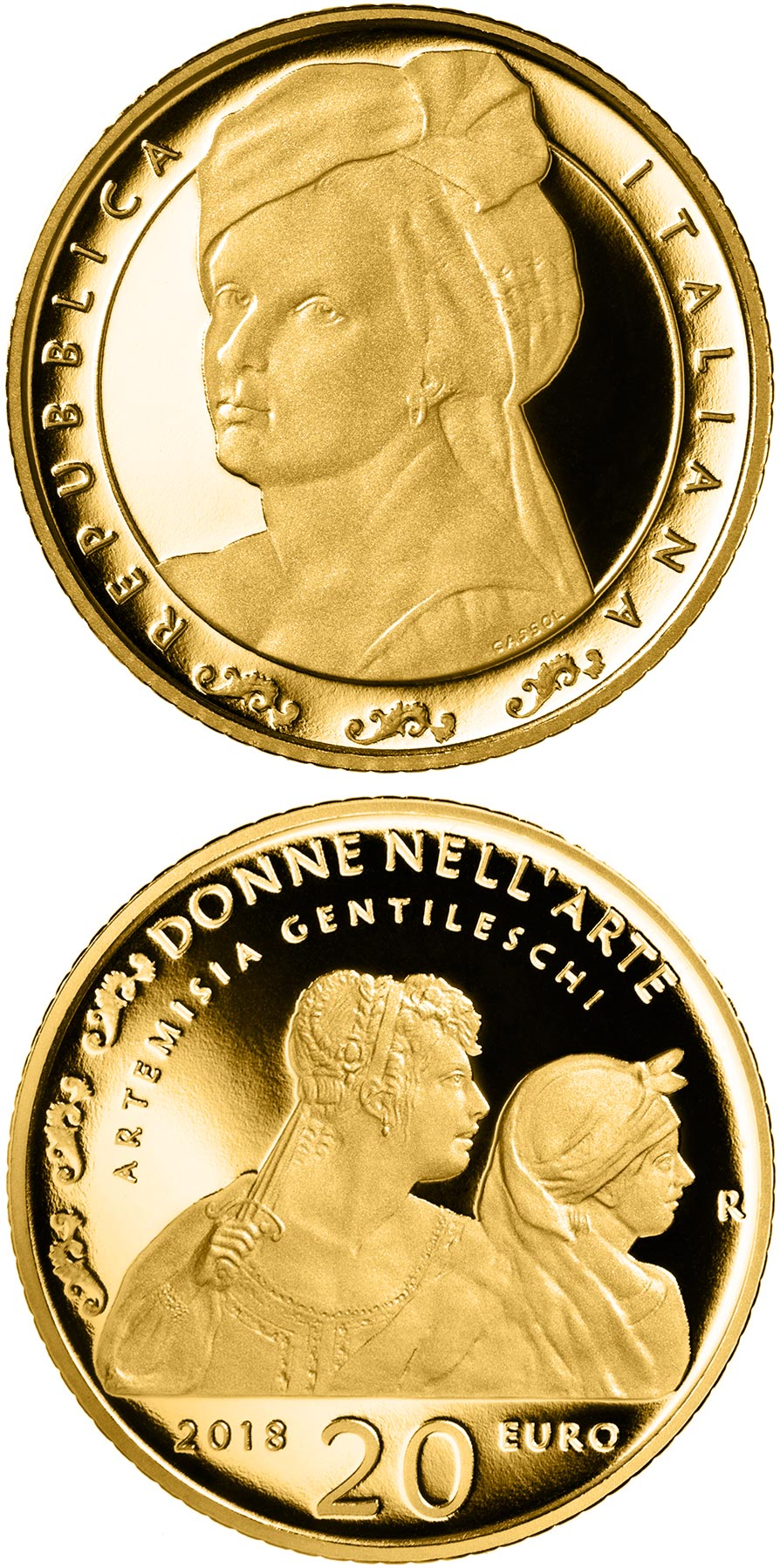 Image of 20 euro coin – Artemisia Gentileschi | Italy 2018.  The Gold coin is of Proof quality.