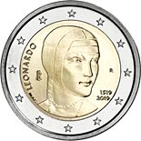 2 euro coin 500th Anniversary of the Death of Leonardo da Vinci | Italy 2019
