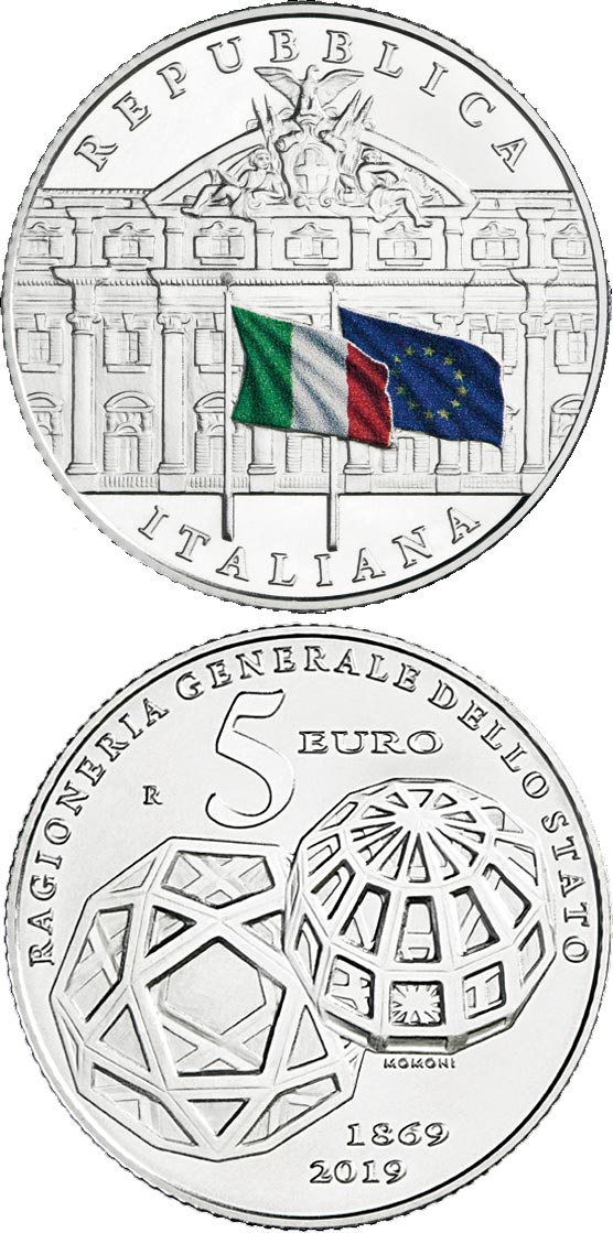 Image of 5 euro coin - 150th Anniversary of the foundation of the General Accounting Office of the State | Italy 2019.  The Silver coin is of BU quality.