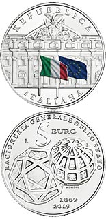 5 euro coin 150th Anniversary of the foundation of the General Accounting Office of the State | Italy 2019