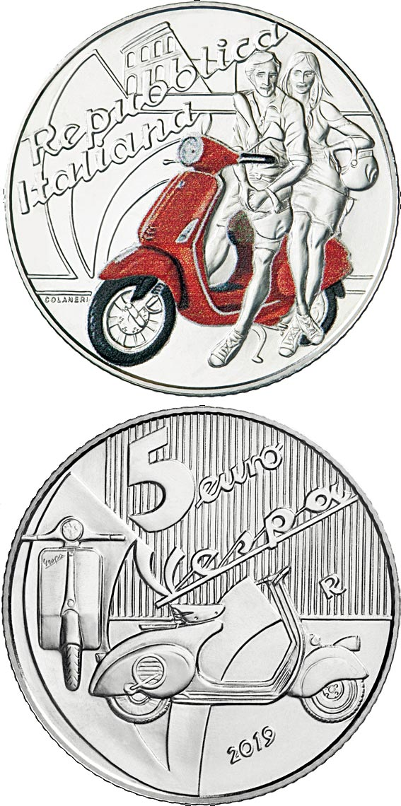 Image of 5 euro coin - Vespa | Italy 2019.  The Silver coin is of BU quality.