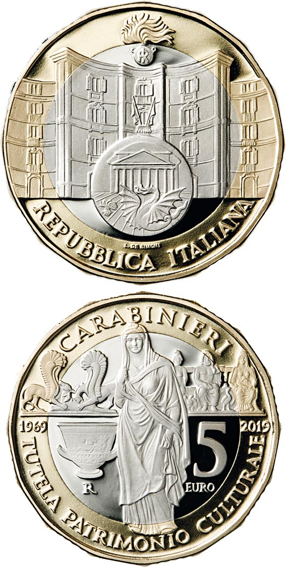 Image of 5 euro coin – 50th Anniversary of the foundation of the Carabinieri Command for the Protection of Cultural Heritage | Italy 2019.  The Bimetal: CuNi, nordic gold coin is of Proof quality.