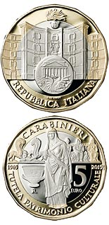 5 euro coin 50th Anniversary of the foundation of the Carabinieri Command for the Protection of Cultural Heritage | Italy 2019