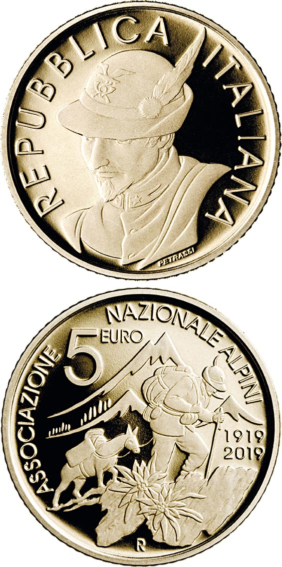 Image of 5 euro coin - Centenary of the National Alpine Association | Italy 2019.  The Bronze coin is of BU quality.