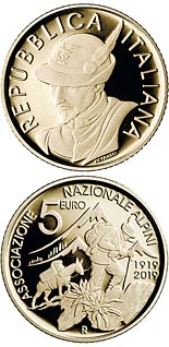 5 euro coin Centenary of the National Alpine Association | Italy 2019
