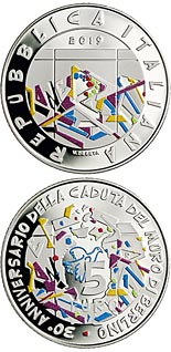 5 euro coin 30th Anniversary of the fall of the Berlin Wall | Italy 2019