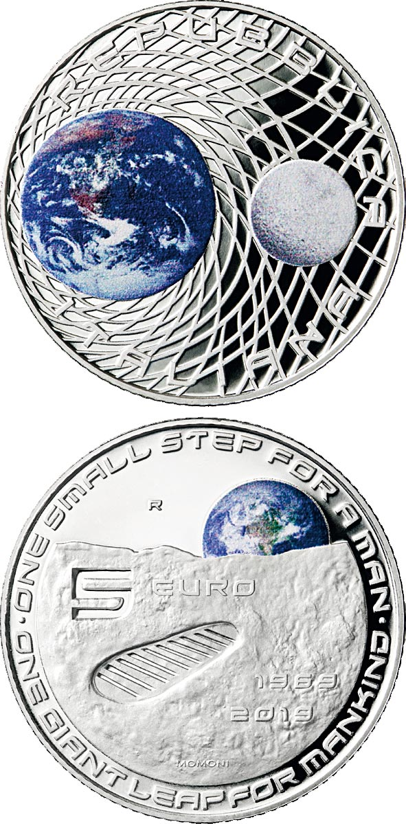 Image of 5 euro coin - 50th Anniversary of the Man on the Moon landing | Italy 2019