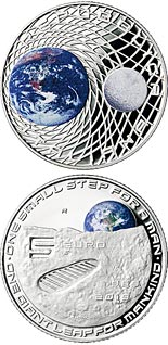5 euro coin 50th Anniversary of the Man on the Moon landing | Italy 2019
