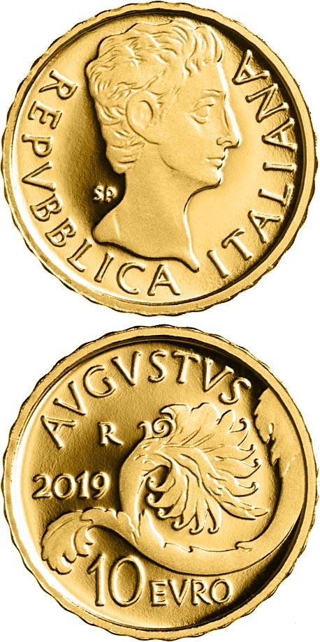 Image of 10 euro coin - Augusto  | Italy 2019.  The Gold coin is of Proof quality.