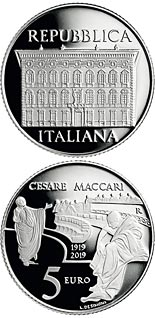 5 euro coin Centenary of the disappearance of Cesari Maccari | Italy 2019
