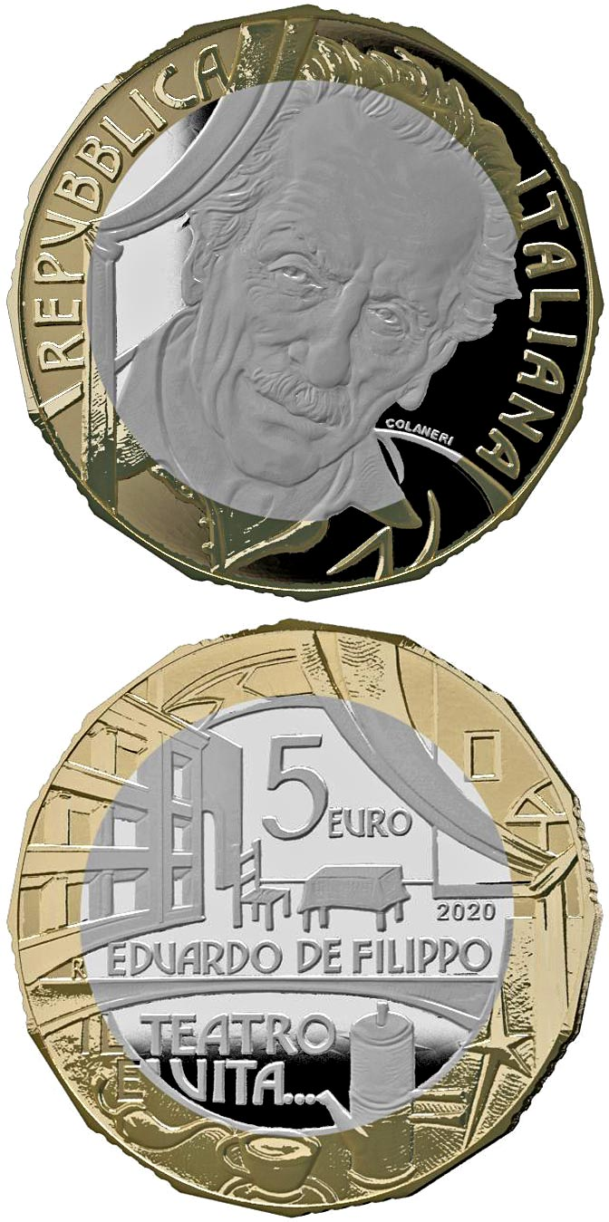 Image of 5 euro coin - Eduardo De Filippo | Italy 2020.  The Bimetal: CuNi, nordic gold coin is of Proof quality.
