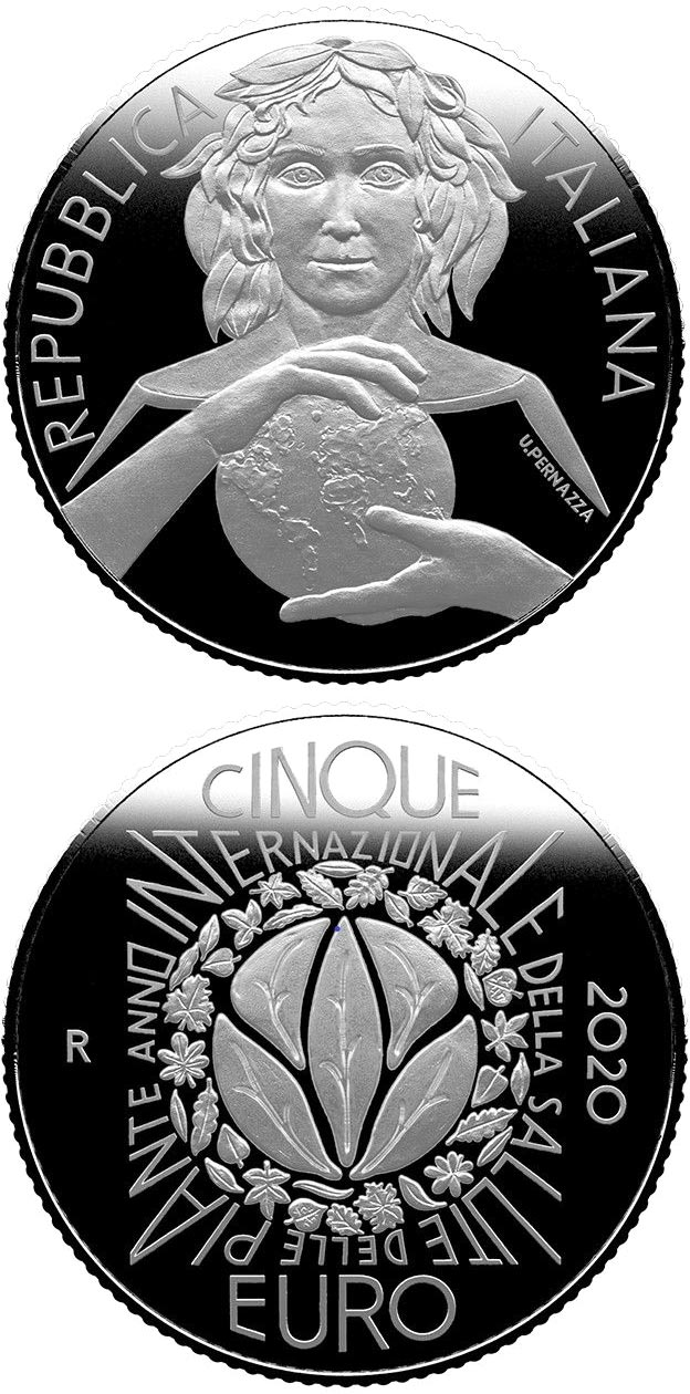 Image of 5 euro coin - International Year of Plant Health | Italy 2020.  The Silver coin is of Proof, BU quality.