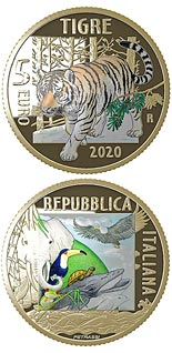 5 euro coin Endangered Animals - Tiger | Italy 2020