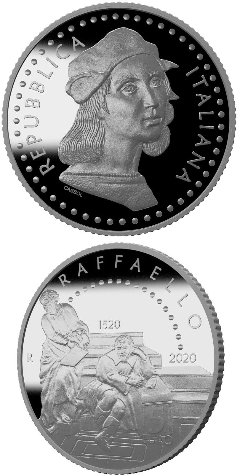 Image of 5 euro coin - 500th Anniversary of the death of Raffaello Sanzio | Italy 2020.  The Silver coin is of Proof quality.