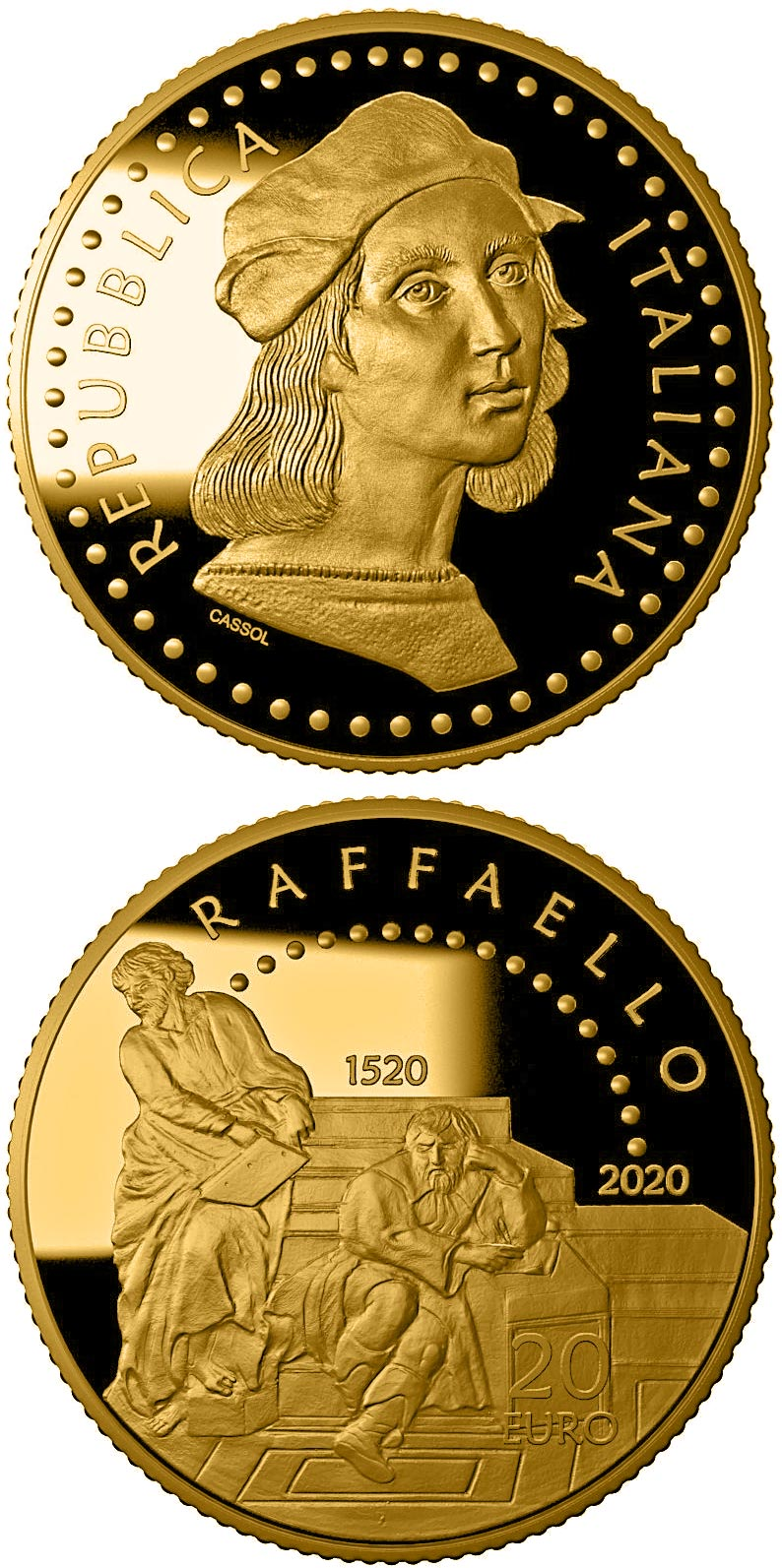 Image of 20 euro coin - 500th Anniversary of the death of Raffaello Sanzio | Italy 2020.  The Gold coin is of Proof quality.