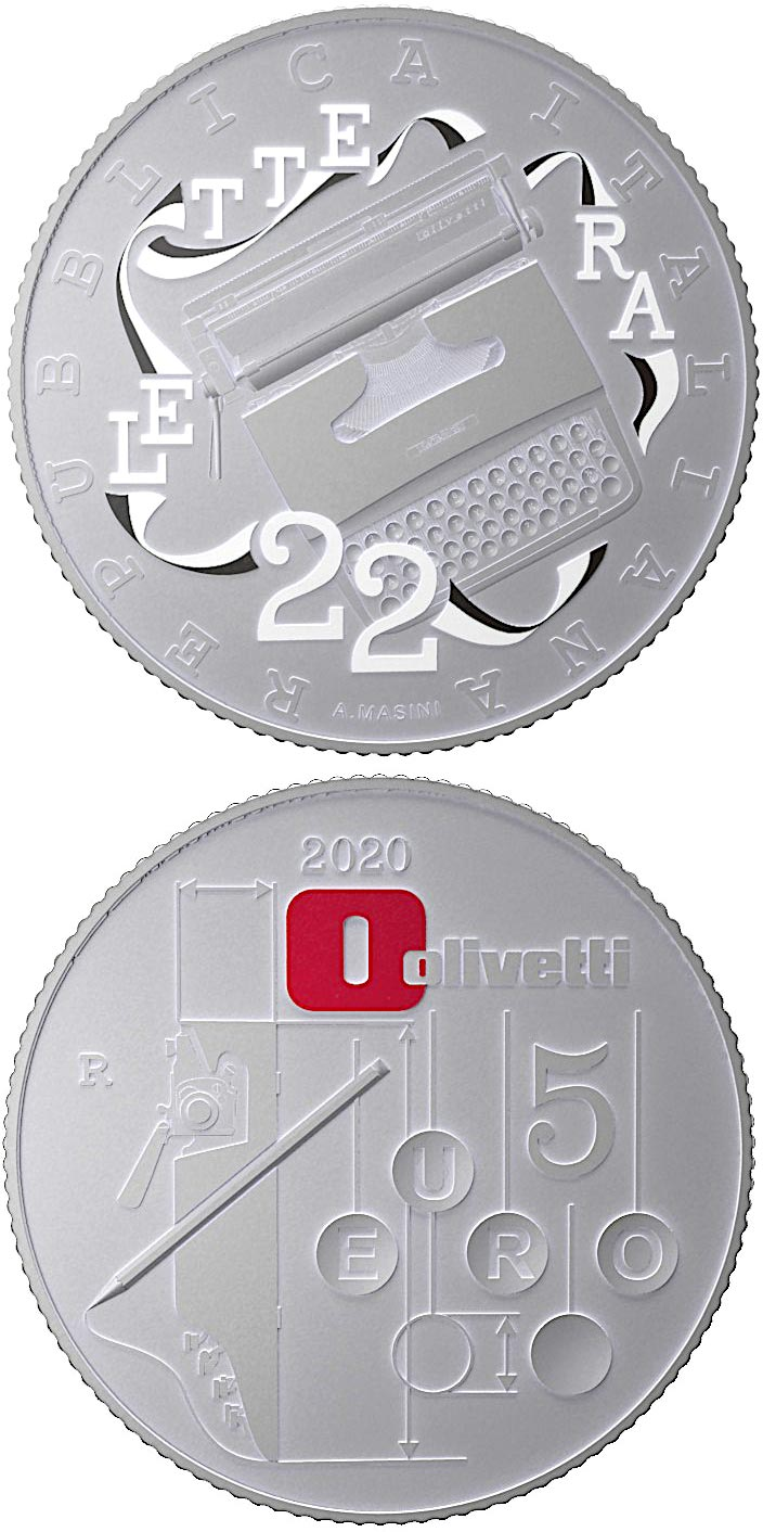 Image of 5 euro coin - Olivetti Lettera 22 | Italy 2020.  The Silver coin is of BU quality.