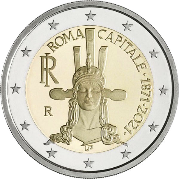 Image of 2 euro coin - Rome - The Capital City | Italy 2021