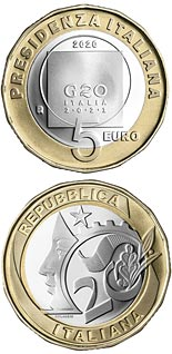 5 euro coin the Italian Presidency of the G20 | Italy 2020
