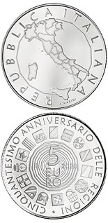 5 euro coin 50th Anniversary of the establishment of the Regions with ordinary statute | Italy 2020