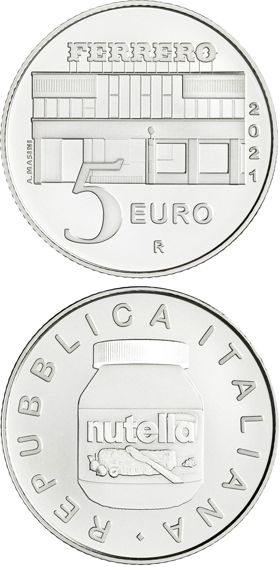 Image of 5 euro coin - NUTELLA® by the Ferrero Group | Italy 2021.  The Silver coin is of BU quality.