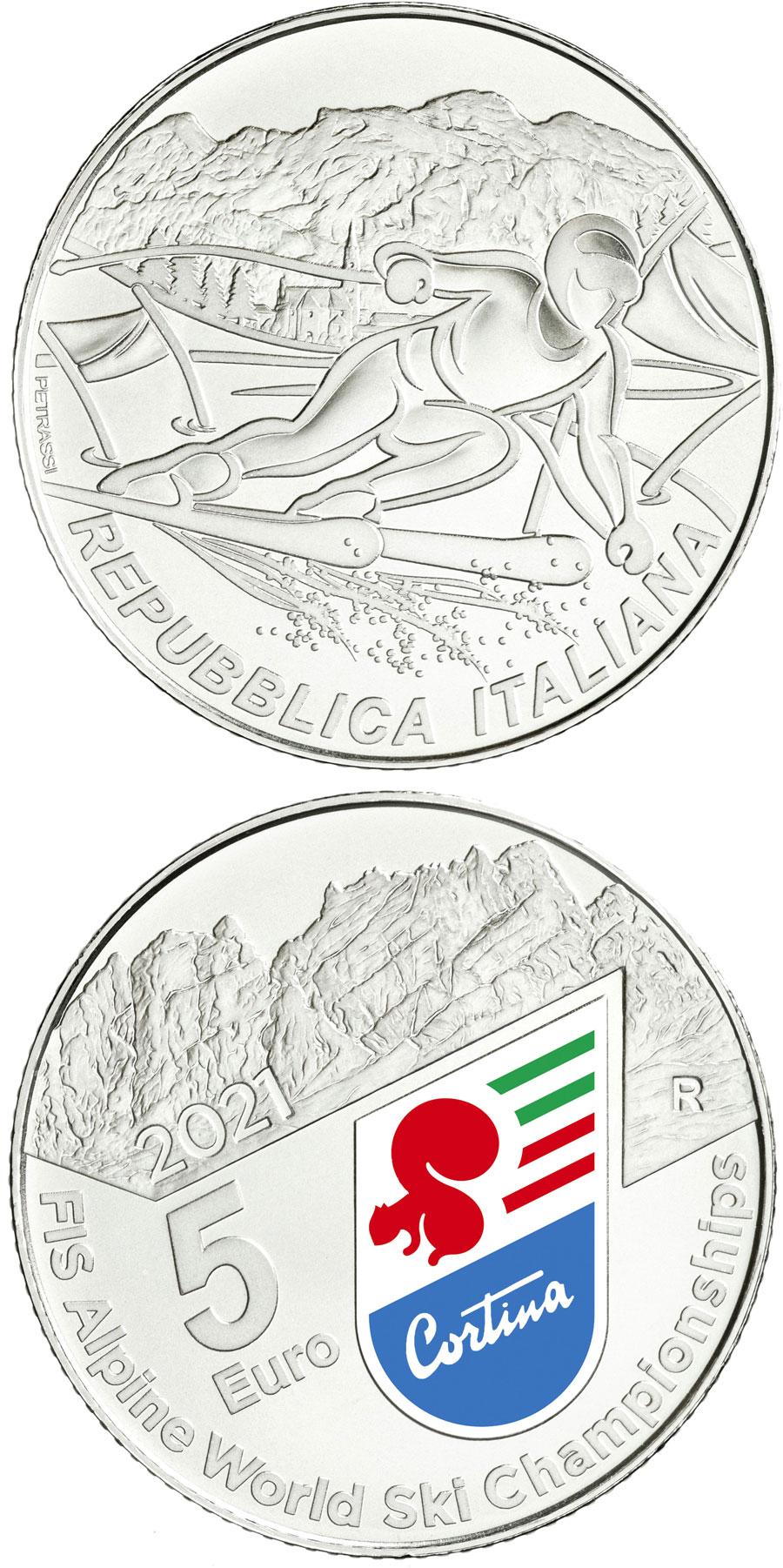 Image of 5 euro coin - Alpine World Ski Championships 2021 | Italy 2021.  The Silver coin is of BU quality.