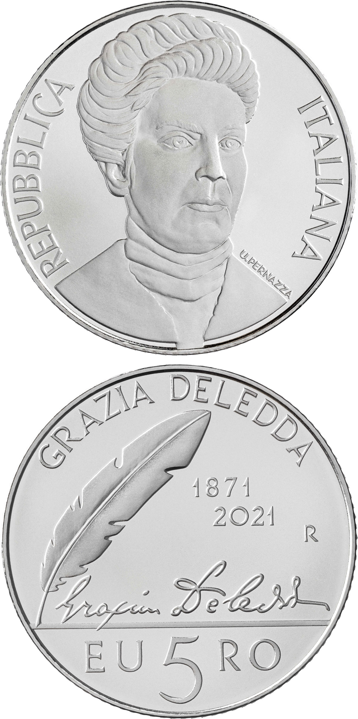 Image of 5 euro coin - 150th Anniversary of the birth of Grazia Deledda | Italy 2021.  The Silver coin is of BU quality.