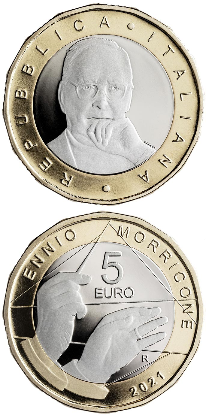 Image of 5 euro coin - Ennio Morricone | Italy 2021.  The Bimetal: CuNi, nordic gold coin is of Proof quality.