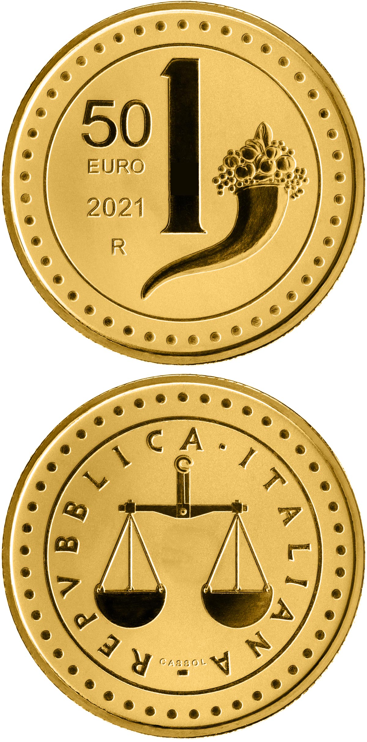 Image of 50 euro coin - The Heritage of Lira: 1 Lira | Italy 2021.  The Gold coin is of Proof quality.