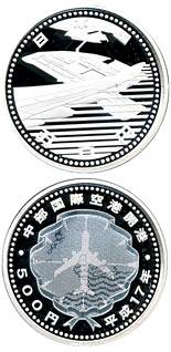 Image of 500 yen coin - The Opening of CHUBU CENTRAIR International Airport  | Japan 2005.  The Silver coin is of Proof quality.