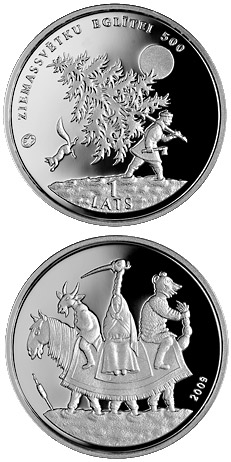 Image of 1 lats coin - Christmas tree | Latvia 2009.  The Silver coin is of Proof quality.