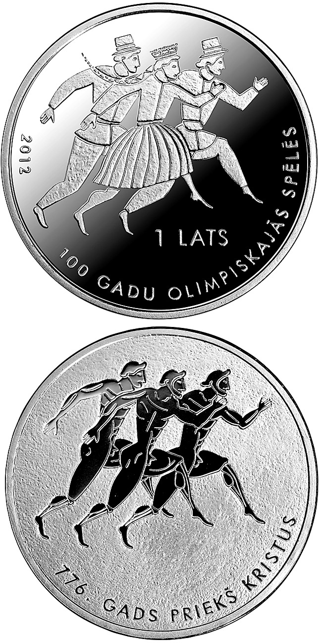 Image of 1 lats coin - 100 years in Olympic Games | Latvia 2012.  The Silver coin is of Proof quality.