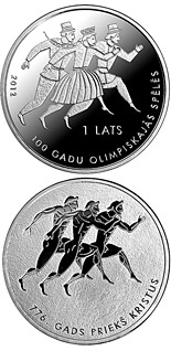 1 lats 100 years in Olympic Games - 2012 - Series: Silver lats coins - Latvia