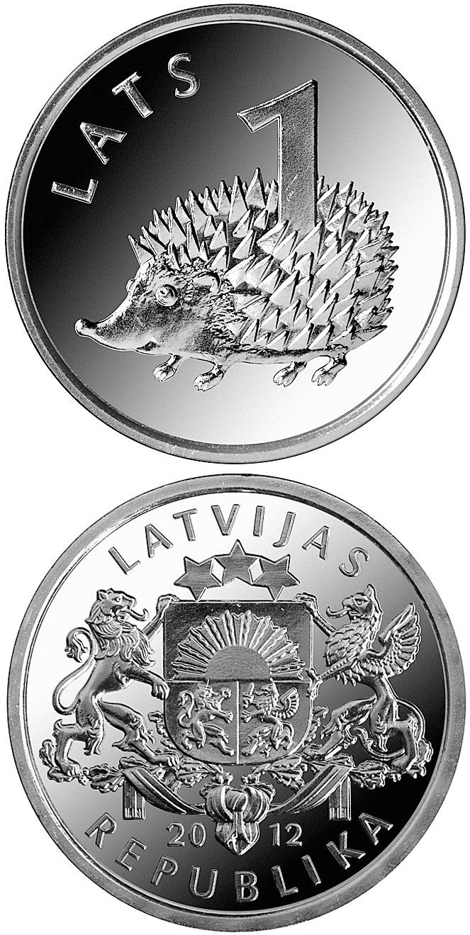 Image of 1 lats coin - Hedgehog | Latvia 2012.  The Copper–Nickel (CuNi) coin is of UNC quality.