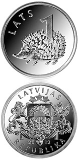 1 lats coin Hedgehog | Latvia 2012