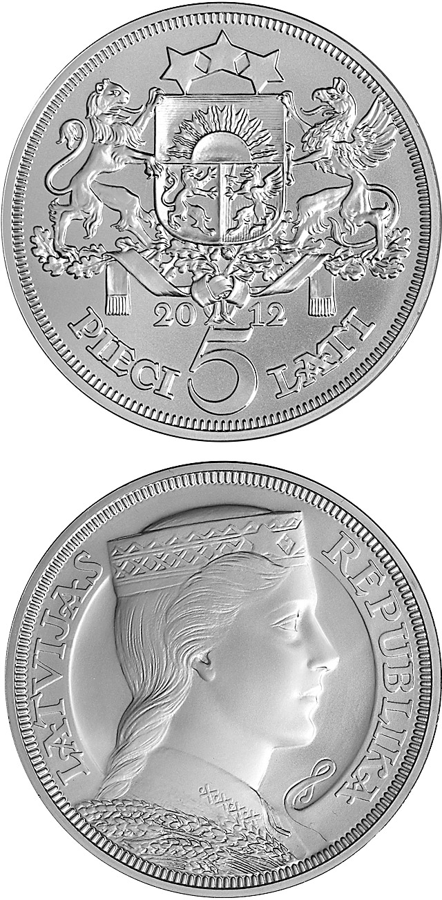 Image of 90th Anniversary of the Bank of Latvia – 5 lats coin Latvia 2012.  The Silver coin is of BU quality.