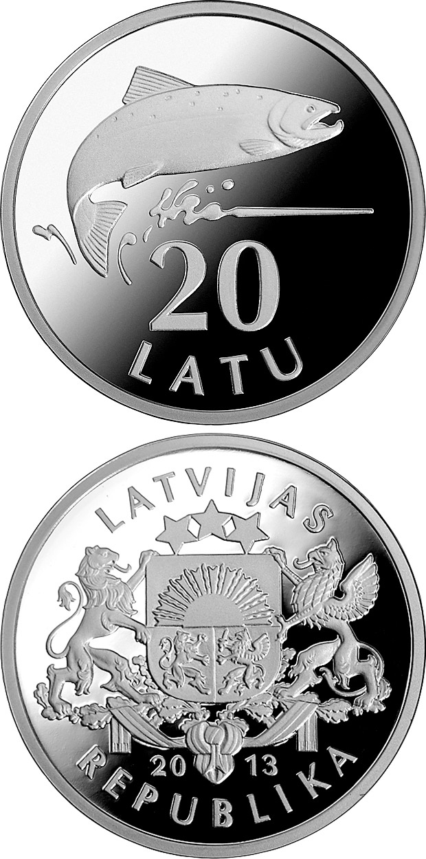 Image of 20 lats coin -  Silver Salmon | Latvia 2013.  The Silver coin is of Proof quality.