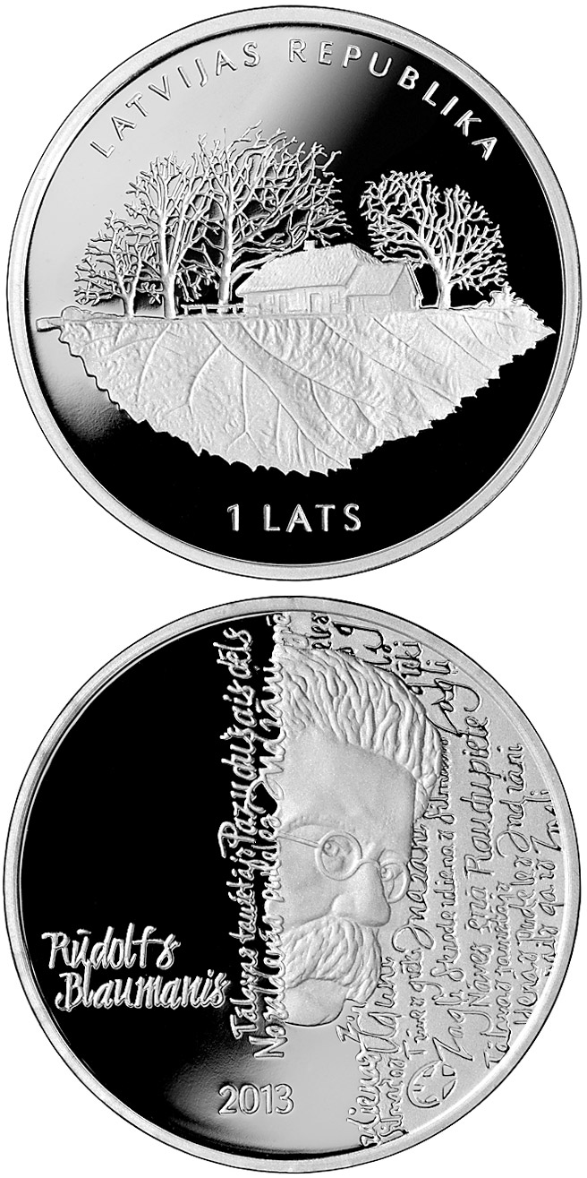 Image of 1 lats coin - 150th Anniversary of the Birth of Rūdolfs Blaumanis | Latvia 2013.  The Silver coin is of Proof quality.
