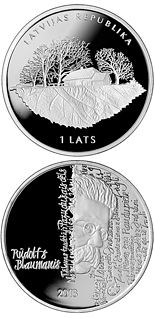1 lats 150th Anniversary of the Birth of Rūdolfs Blaumanis - 2013 - Series: Silver lats coins - Latvia