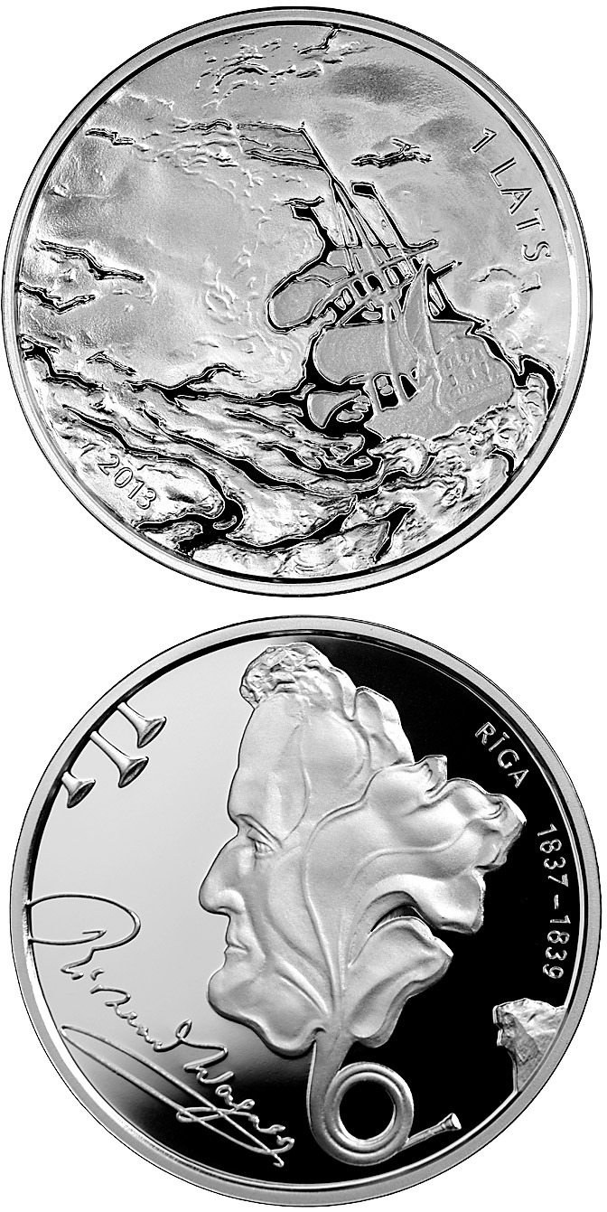 Image of 1 lats coin - Richard Wagner | Latvia 2013.  The Silver coin is of Proof quality.