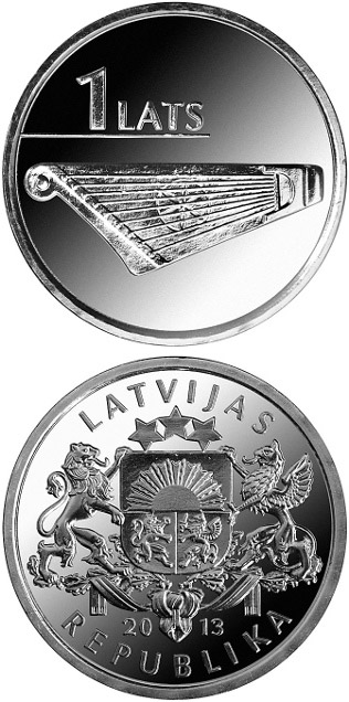 Image of Kokle – 1 lats coin Latvia 2013.  The Copper–Nickel (CuNi) coin is of UNC quality.